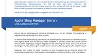 """Stellenanzeige für """"Shop Manager"""" in Graz, Salzburg und Wien aufgetaucht"""