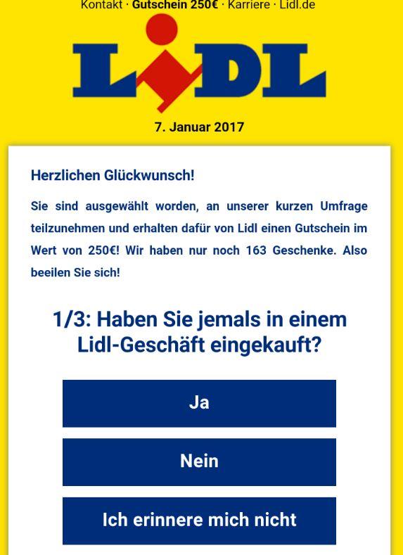 Lidl Gutschein Fake