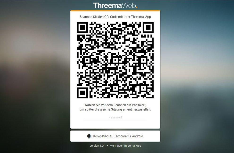 Threema Web: Scannt den angezeigten QR-Code mit dem Smartphone ein.