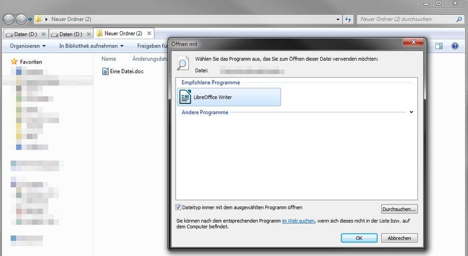 Windows: Die DOC-Datei wird nun zukünftig immer mit LibreOffice Writer geöffnet.
