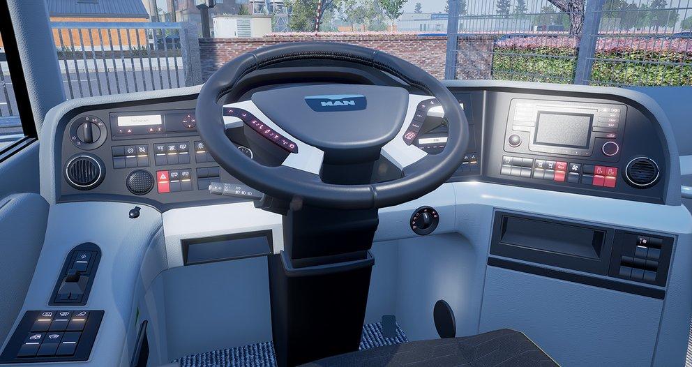 Das Cockpit ist einem echten Fernbus nachgebaut.