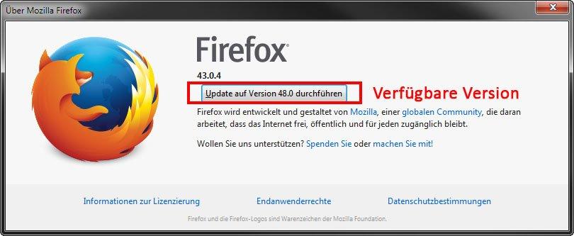 Hier zeigt Firefox die aktuelle, verfügbare Version an.