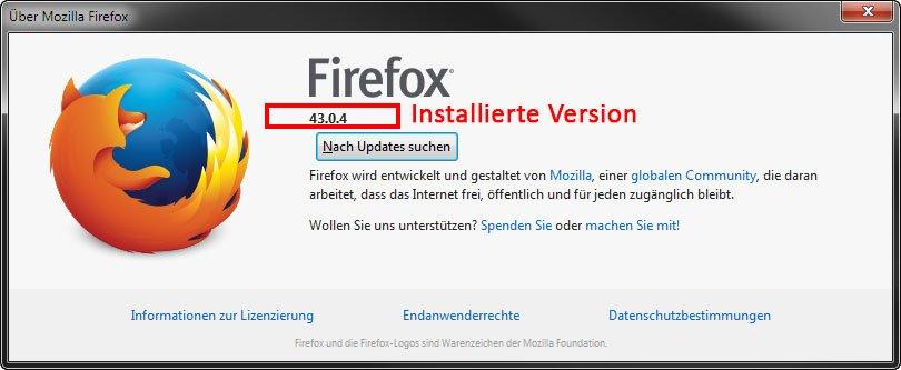 Firefox: Hier seht ihr eure installierte Firefox-Version.