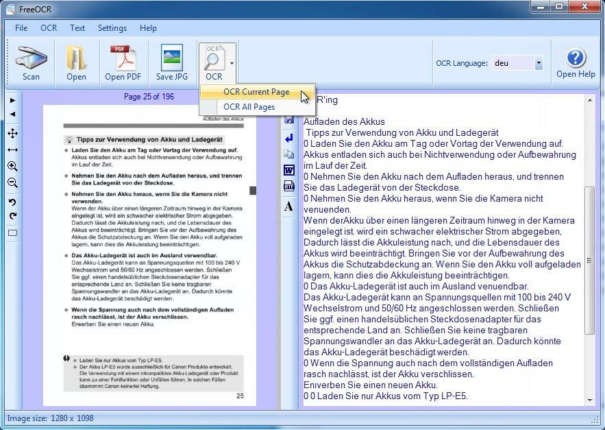FreeOCR erkennt auch Text aus Bildern