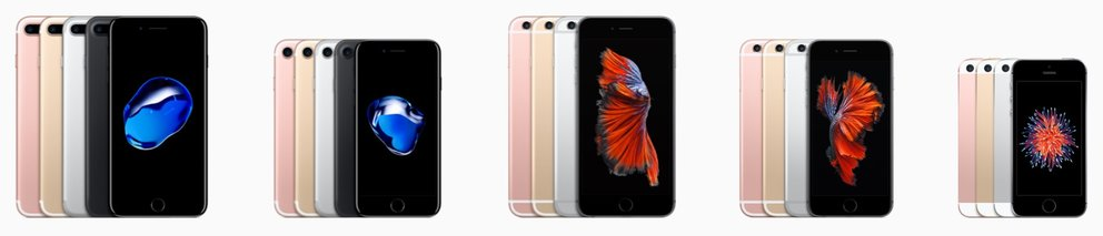 iPhone 7 Plus, 7, 6s Plus, 6s und SE