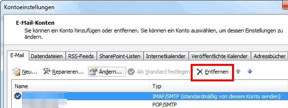 Outlook 2010: Hier löscht ihr ein E-Mail-Konto.