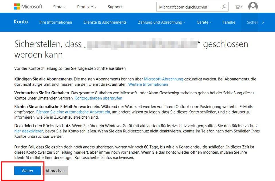 Hier löscht ihr euer Outlook E-Mail-Konto zusammen mit eurem Microsoft-Konto.