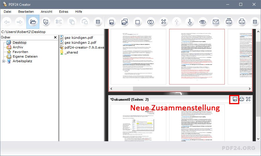 PDF24 Creator: Zieht benötigte Seiten in die untere Vorschau und speichert sie als neue PDF-Datei ab.