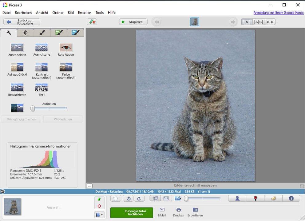 Mit der Bildbearbeitungs-Software Picasa könnt ihr CR2-Dateien öffnen und auch geringfügig bearbeiten. Bild: GIGA