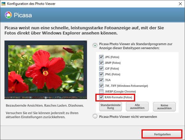 Hier sollte ein Häkchen gesetzt sein, damit Picasa CR2-Dateien findet und öffnen kann. Bild: GIGA