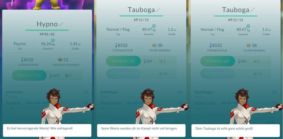Bewertungen wie diese erfahrt ihr neuerdings über euer Pokémon.