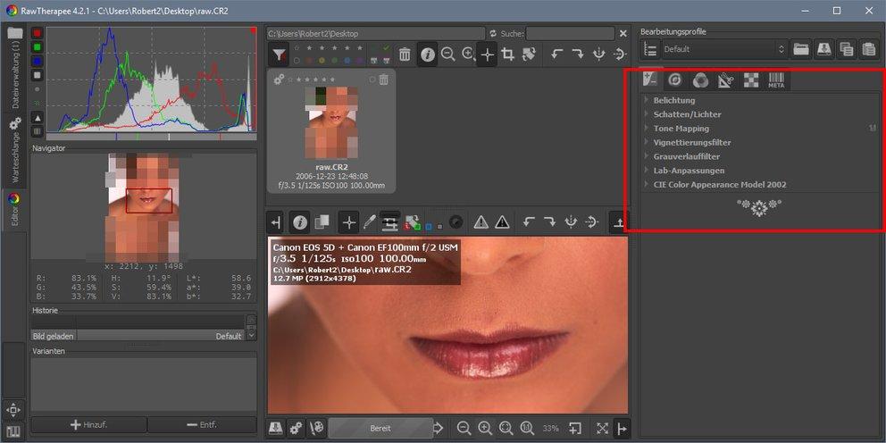 RawTherapee: Die kostenlose Variante zum Bearbeiten von RAW-Dateien.