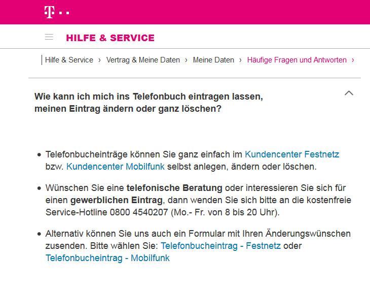 Telefonbucheintrag Löschen
