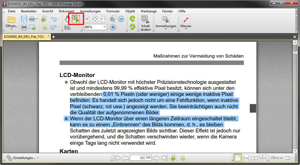 PDF: Mit dem Text-Werkzeug könnt ihr Textinhalte kopieren.