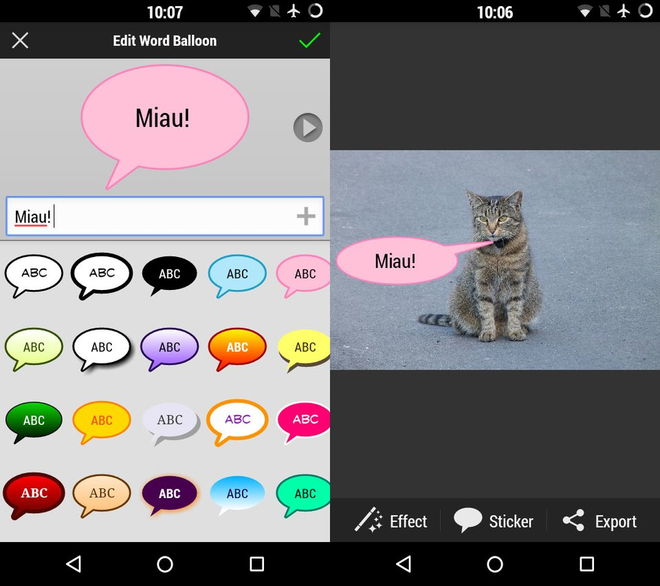 Mit der App PicSay fügt ihr schöne und witzige Sprechblasen in eure Bilder ein.