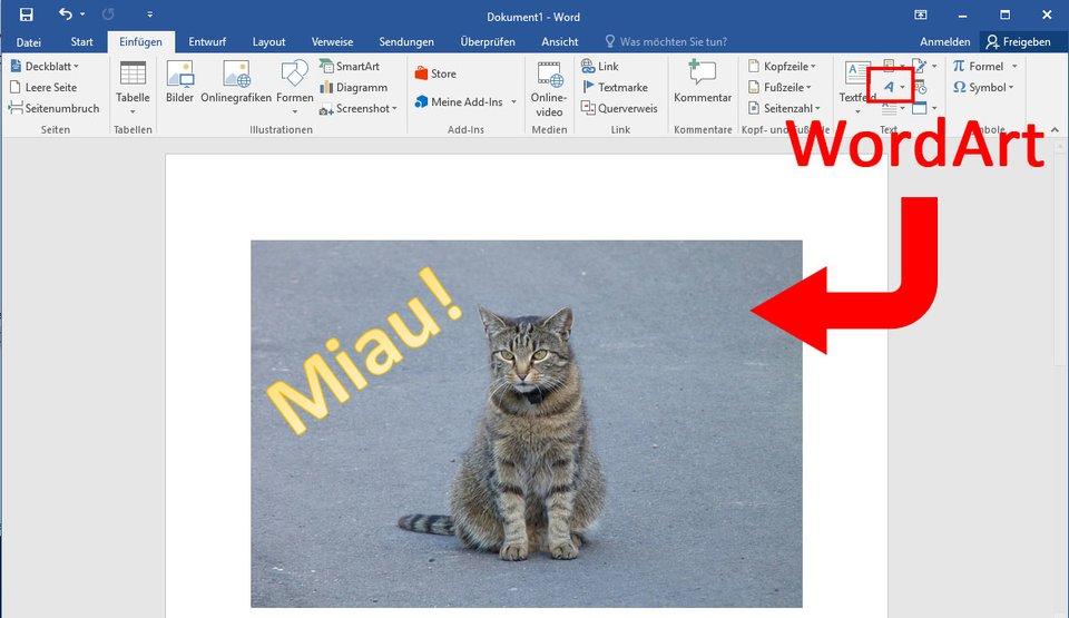 Word: Mit WordArt könnt ihr Text in ein Bild einfügen.