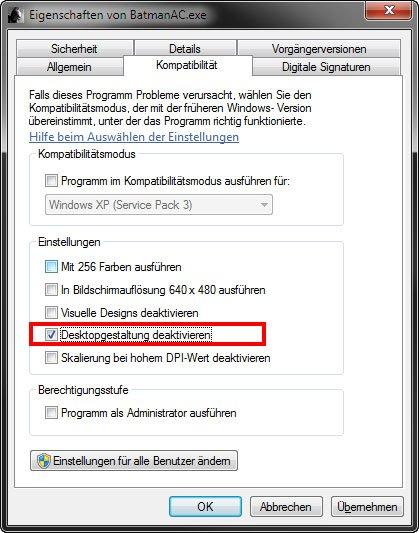 """Windows: In den Eigenschaften bei """"Kompatibilität"""" deaktiviert ihr die Desktopgestaltung."""