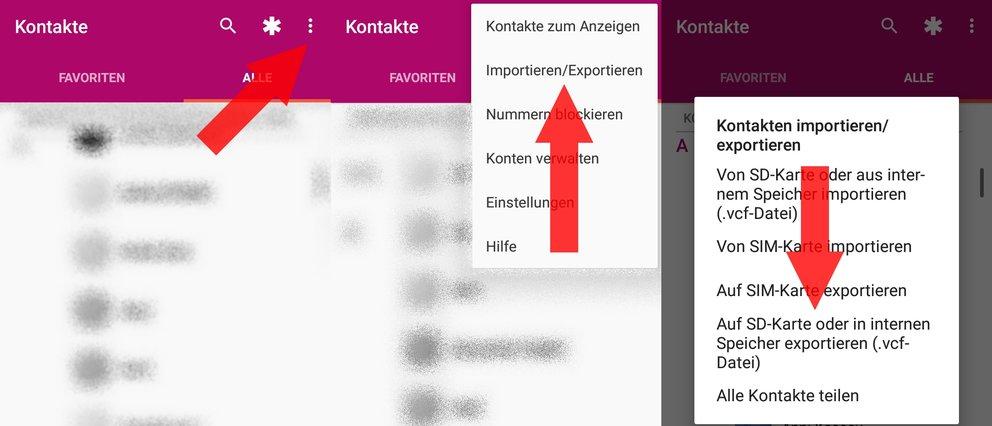 Android Kontakte als vCard