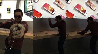 Wütender Kunde zertrümmert iPhones im Apple Store