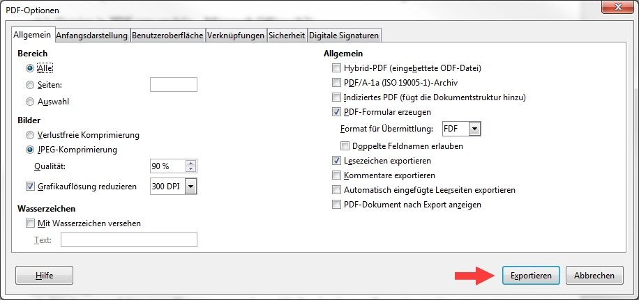 Libre Office PDF-Optionen