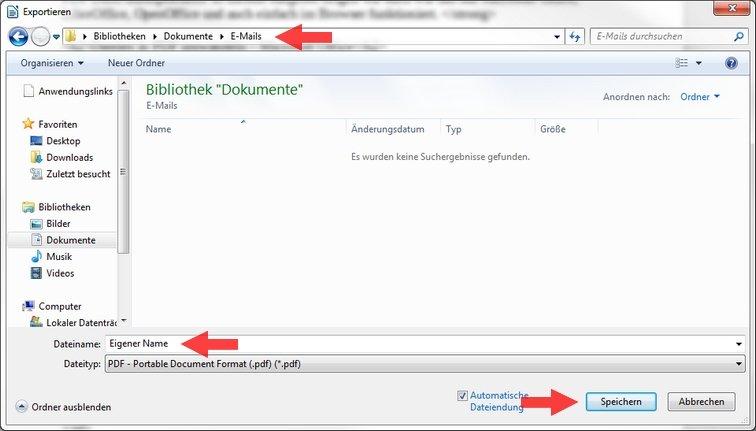 LibreOffice Speichermenü