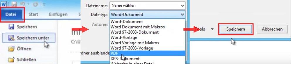 Microsoft Office Word Datei als PDF speichern