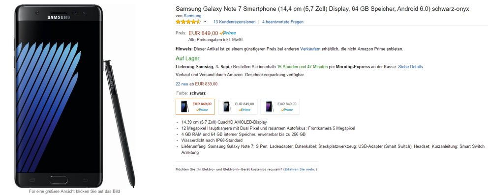 Samsung Galaxy Note 7 bei Amazon