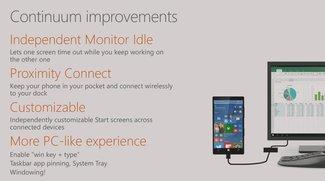 Continuum für Windows 10 Mobile: Neue Funktionen im Video demonstriert