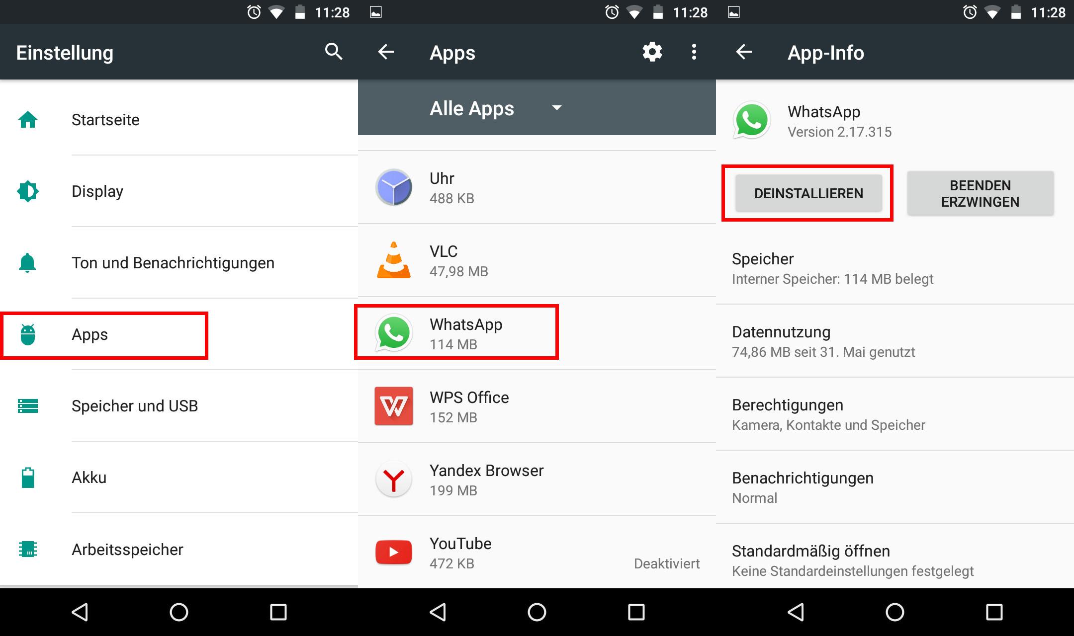 1. Installierte Apps überprüfen