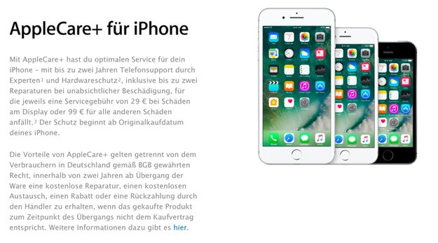 Neue AppleCare+-Preise: Jetzt 29 Euro für Display-, 99 Euro für anderen Schadensfall