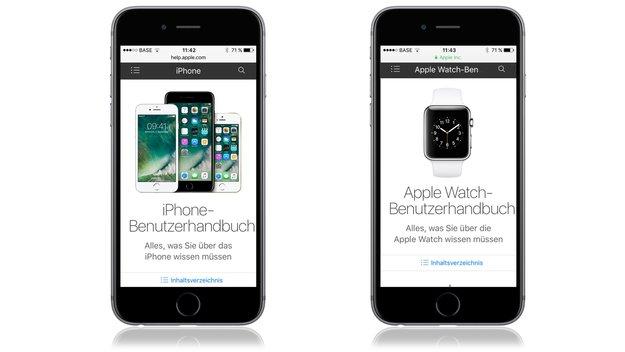 Handbücher für iPhone 7 und Apple Watch Series 2 online verfügbar