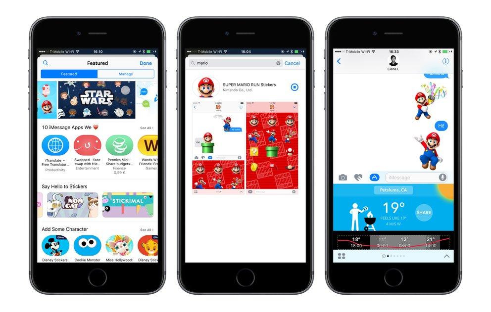 Mario Und Disney Sticker In IMessage Der App Store IOS 10 Ist