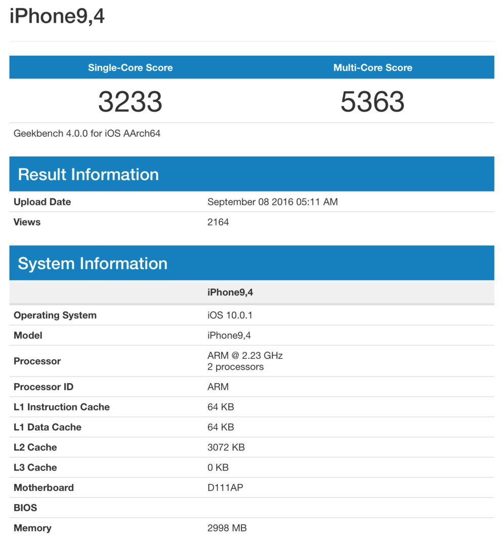 iPhone 7 Plus Geekbench Werte