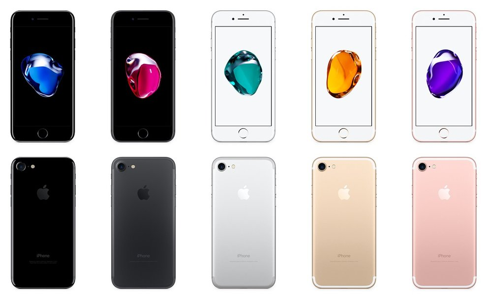 Von vorne und von hinten: die Farben des iPhone 7