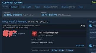 Diese Browser-Erweiterung ersetzt Steam-Reviews mit langer Spielzeit durch lustigen Spruch