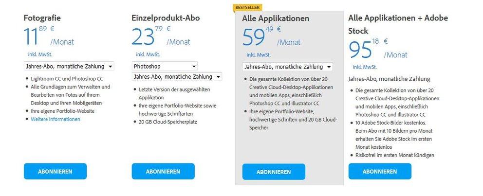 Adobe Photoshop Abos