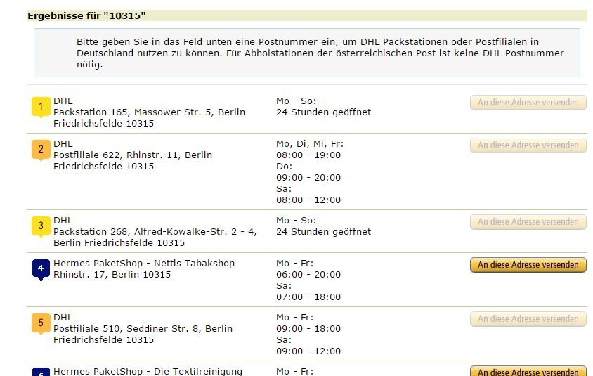 Amazon Abholstationen Liste