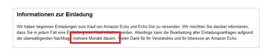 Amazon Echo Einladung Information