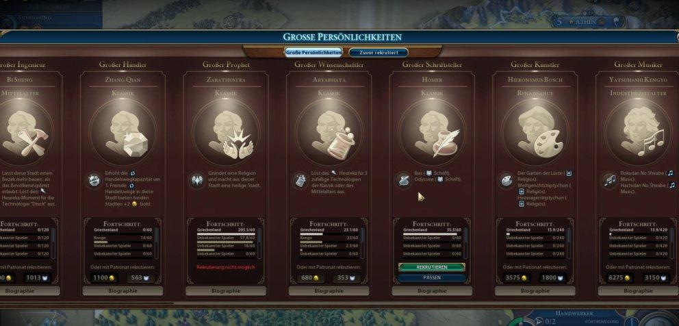 Große Persönlichkeiten Civilization 6