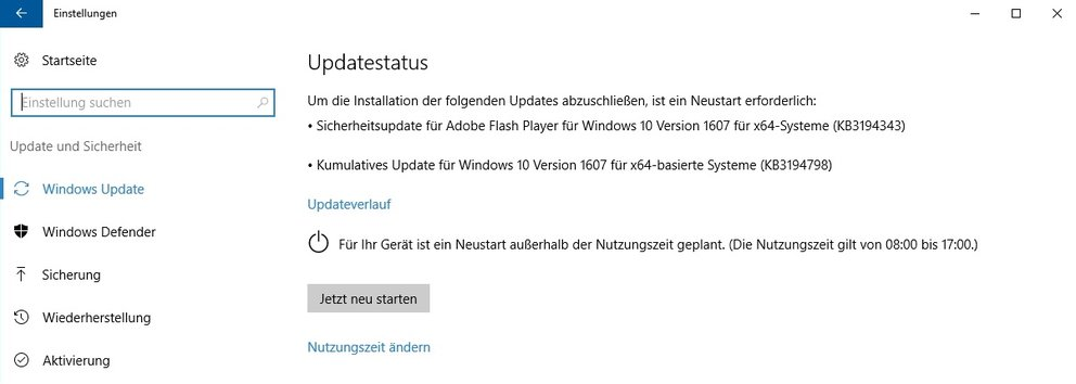 Windows 10 Kumulatives Update KB3194798
