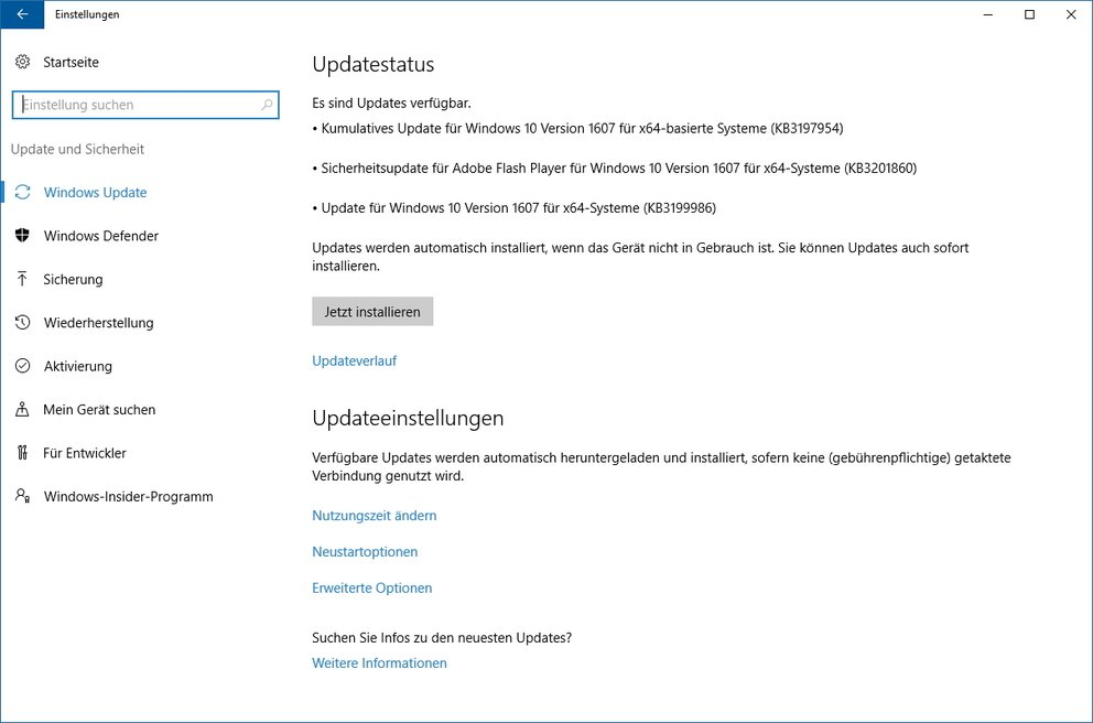 Windows 10 Kumulatives Update KB3197954