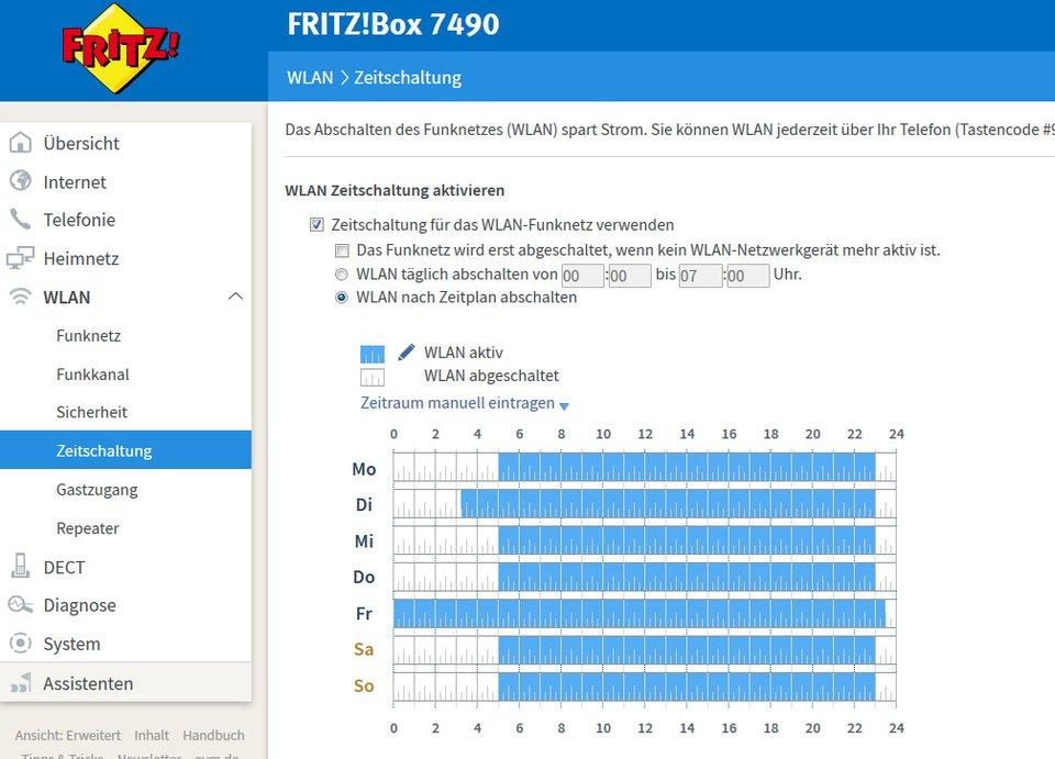 Hier könnt ihr einen Zeitplan erstellen, wann die Fritzbox das WLAN automatisch ausschaltet.