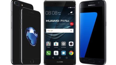 Smartphones bei Stiftung Warentest: Galaxy S7, iPhone 7 Plus und P9 Plus vorne