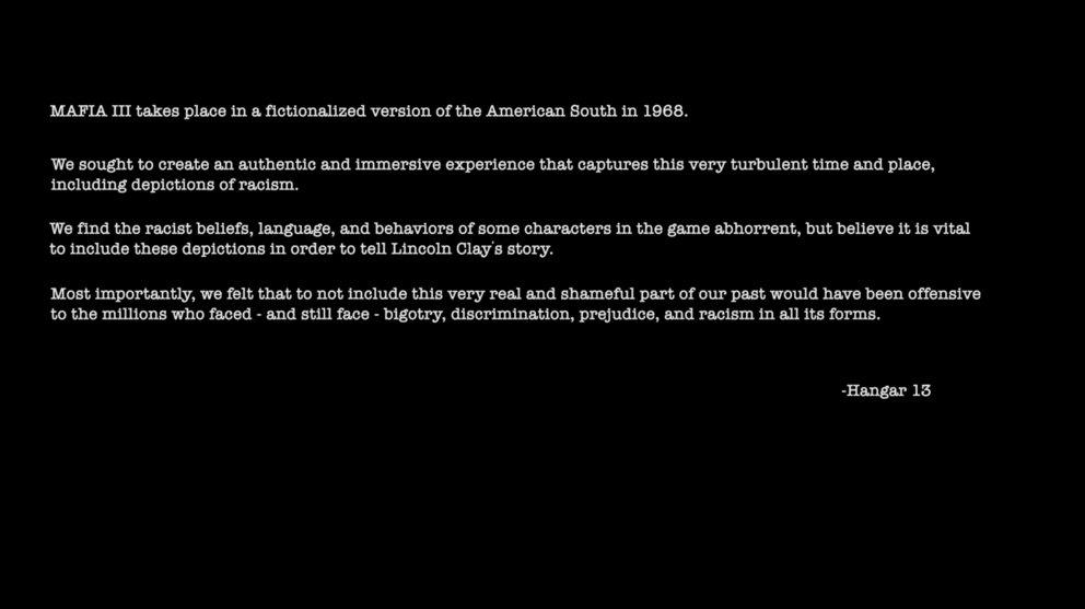 Mit dieser Nachricht der Entwickler beginnt Mafia III.