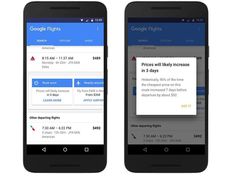Google Flights warnt vor eventuellen Preiserhöhungen.