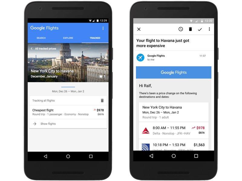 Google Flights: Flüge tracken und per Mail informiert werden.