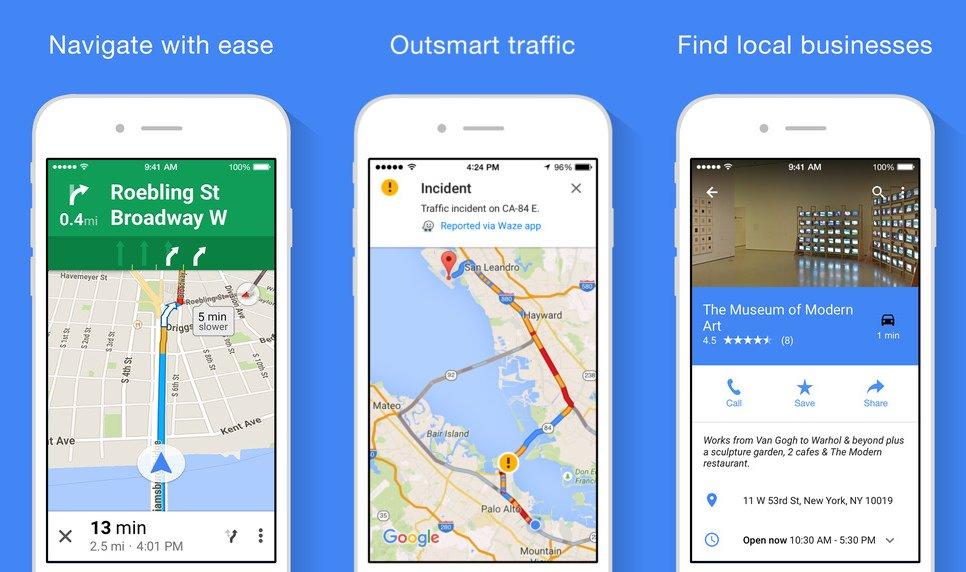 Google Maps für iOS: Update integriert Essen-Liefernste on