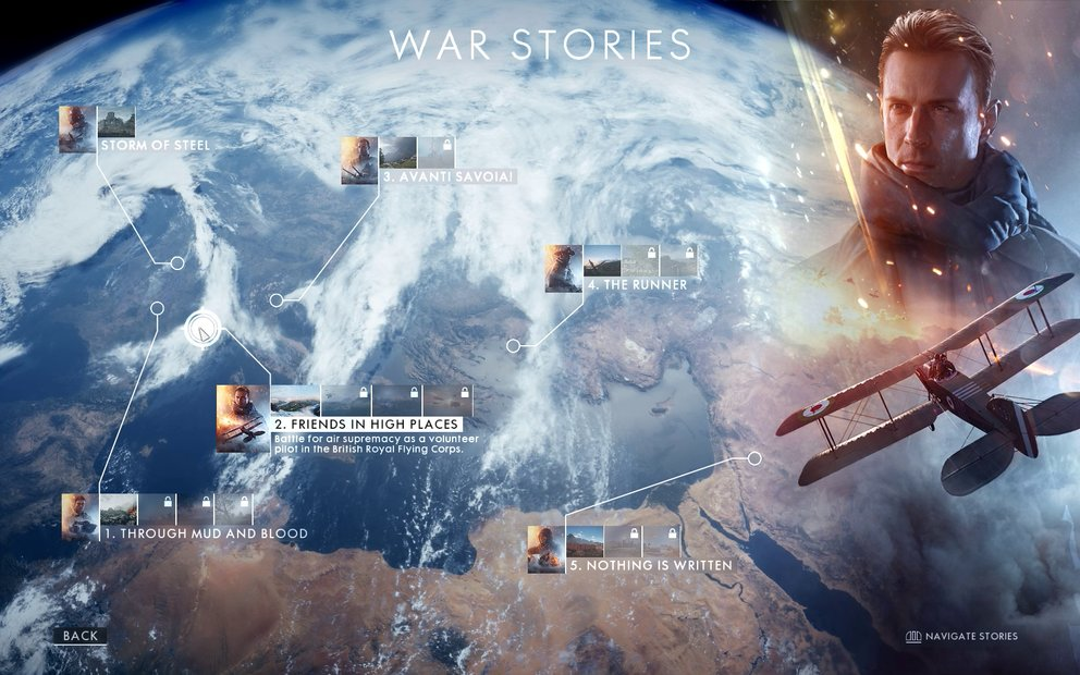 Statt einer zusammenhängenden Kampagne besteht der Einzelspieler von Battlefield 1 aus fünf voneinander unabhängigen Episoden.