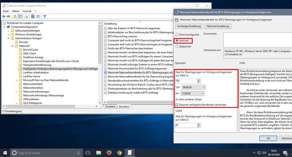 Windows 10: Hier begrenzt ihr die Rate für Übertragungen mit BITS.