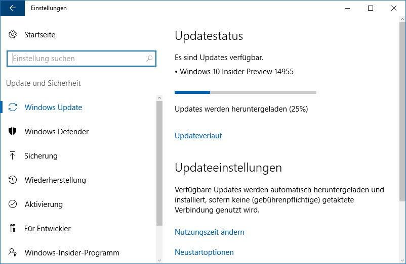 Das Windows 10 Creators Update wird über Windows-Update installiert.